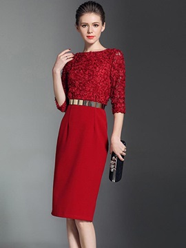 Pure Color Long Sleeve Lace Short Day Dress