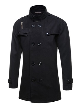 Stand Collar Double Breasted Solid Color Mens Woolen Coat