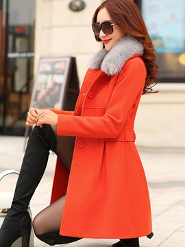 Lapel Patchwork Long Sleeve Womens Overcoat