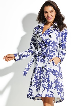 Moroccan Tiles Floral Womens Trench Coat