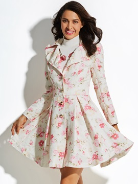 Floral Sweet A Line Vacation Womens Overcoat