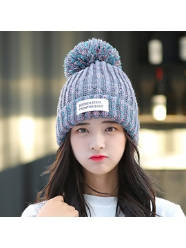 Mixed Color Woolen Yarn Fall Winter Knitted Hats