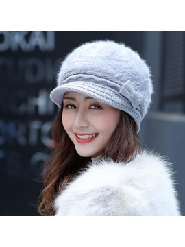 Bowknot Rabbit Fur Korean Womens Winter Bomber Hats