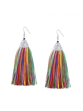 Long Tassel Alloy Earrings