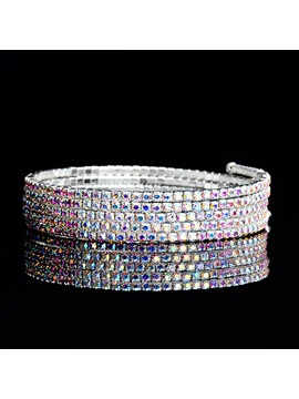 Multilayer Wide Edge Crystal Stone Dazzling Bracelets Bangles