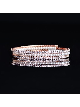 Full Drill Pearl Rose Gold Metal Bracelets Bangles