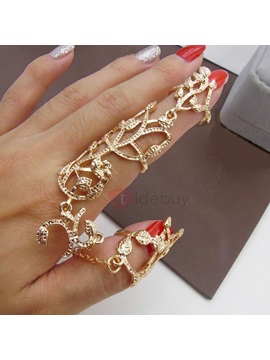 Rose Shape Hollow Out Golden Alloy Diamante Adjustable Finger Conjoined Ring