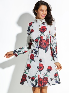 Rose Printed Lapel Womens Vacation Overcoat