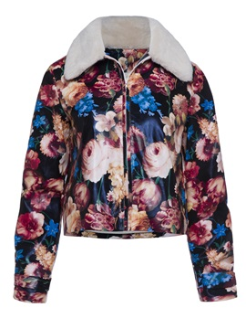 Wide Faux Fur Lapel Color Block Floral Print Womens Short Jacket