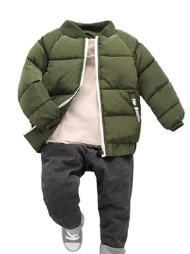 Thick Warm Stand Collar Zipper Boys Cotton Outerwear