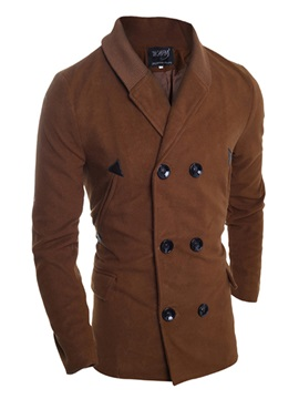 Lapel Solid Color Double Breasted Mens Coat