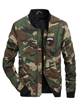 Stand Collar Camouflage Print Straight Mens Jacket