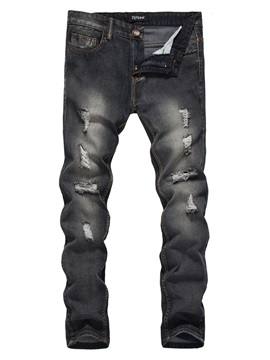 Mid Waist Hole Slim Full Length Mens Denim Pencil Pants