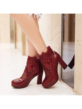 Pu Patchwork Lace Back Zip Womens Ankle Boots