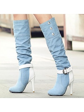 Denim Buckle Rhinestone Patchwork Womens Boots