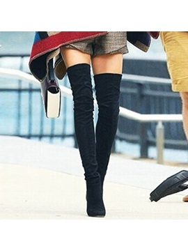 Faux Suede Slip On Stiletto Thigh High Boots For Women