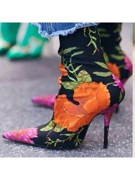 Spandex Print Pointed Toe Floral Womens Boots