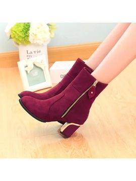 Faux Suede Side Zipper Chunky Heel Womens Ankle Boots