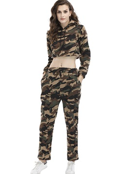 Camouflage Printed Hoodie Crop Tops And Pants Womens 2 Piece Set