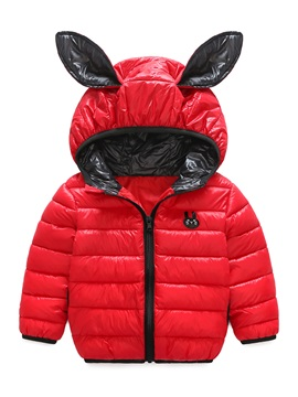 Cute Rabbit Ear Hooded Thick Baby Boys And Girls Cotton Coat