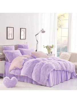 Wannaus Solid Purple And Pink Color Blocking Super Fluffy 4 Piece Bedding Sets Duvet Cover