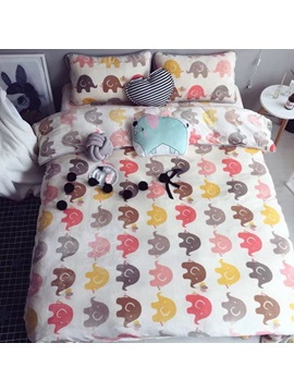 Wannaus Lovely Elephant Print 4 Piece Flannel Duvet Cover Sets