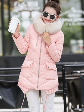 Long Sleeve Hooded Slim Zipper Overcoat