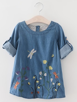 Floral Embroidery Long Sleeve Denim Girls Dress