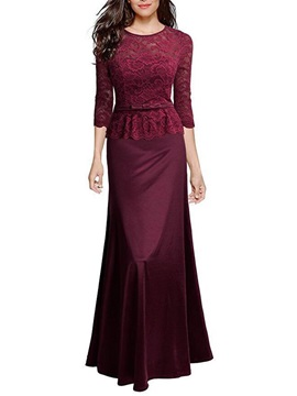 Double Layer Lace Patchwork Womens Maxi Dress
