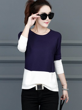 Color Block Long Sleeve Womens Knitwear