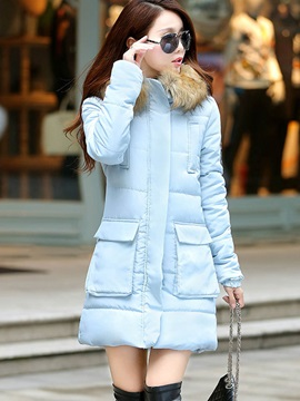 Winter Long Sleeve Hooded Zipper Overcoat