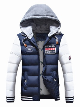 Hooded Patchwork Color Block Warm Mens Winter Jacket
