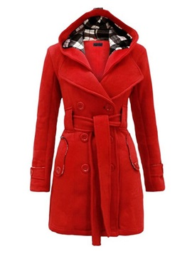 Hooded Slim Belt Womens Overcoat