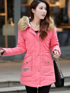 Patchwork Hooded Slim Womens Overcoat