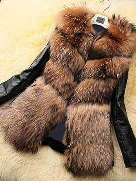 Artificial Fur Patchwork Womens Coat
