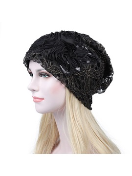 Butterfly Sequins Lace Breathable Skullies Beanies Hats