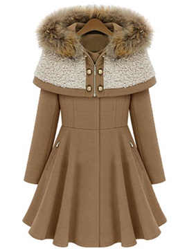 Winter Tippet Style Faux Fur Hooded Womens Overcoat
