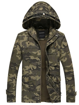 Stand Collar Camouflage Print Loose Mens Jacket