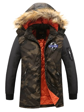 Stand Collar Camouflage Print Thick Mens Winter Coat