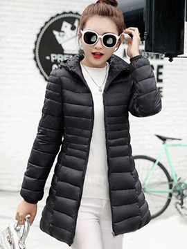 Simple Hooded Slim Womens Over Coat