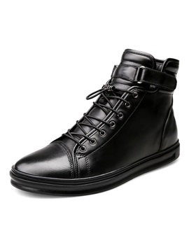 Pu Velcro Lace Up Plush Mens Black Boots