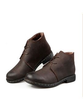 Pu Lace Up Front Plain Mens Martin Boots