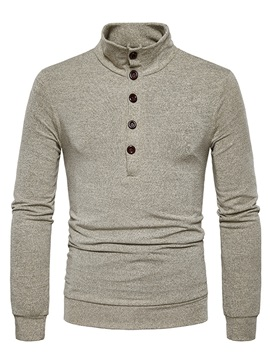 Stand Collar Solid Color Slim Mens Pullover Sweater