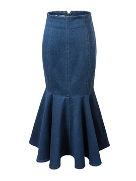 High Waist Mid Calf Mermaid Womens Denim Skirt