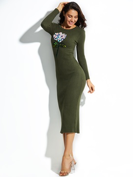 Sequins Flocking Plain Womens Sweater Dress