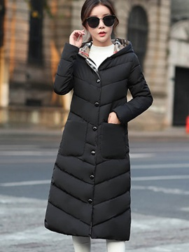 Winter Long Sleeve Hooded Womens Overcoat