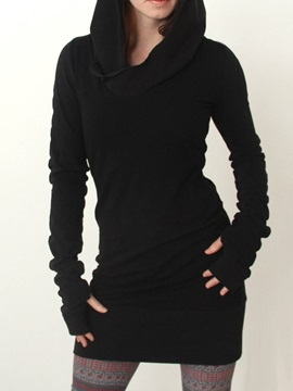 Slim Mid Length Plain Cool Hoodie