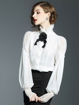 Lace Patchwork Flare Sleeve Button Womens Blouse