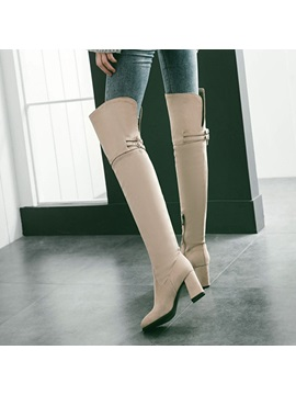 Faux Suede Buckles Chunky Heel Womens Boots