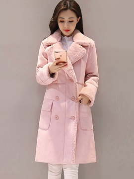 Double Breasted Lapel Long Sleeve Stright Womens Overcoat
